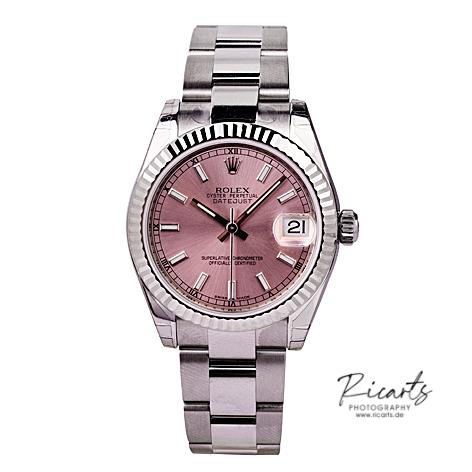Produktfotografie-Uhr-silber-mit-rosefarbenem-Ziffernblatt